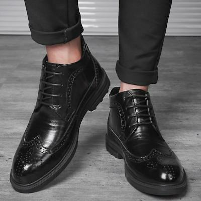 Mens lace up Carved formal leather shoes oxford Brogue wing tip ankle boots Size