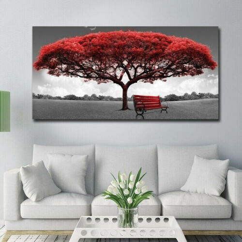 Charm Modern Red Tree Canvas Oil Painting Wall Art Home Picture Print Decor
