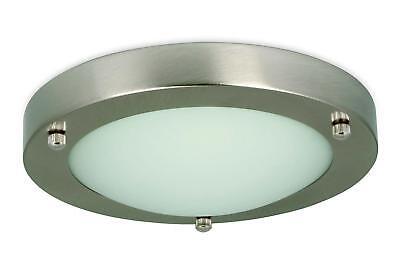 Modern IP44 Silver Chrome Glass Flush Mini Bathroom Ceiling Light Zone 1 2 3