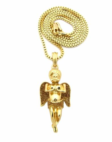 MENS NEW ICED MICRO ANGEL MEDALLION PENDANT BOX CHAIN NECKLACE SET