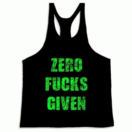 Bodybuilding Gym weightlifting GYM GAUL /'Zero F***s Given/' vest L-4XL