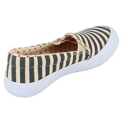 Chicas H2328 Azul Marino/Beige antideslizante en los zapatos de lona rayada por punto en £ 12.99