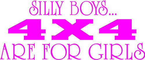Silly boys 4x4 are for girls vinyl decal sticker car window pink jeep dodge quad