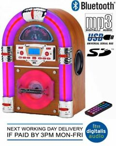 Details about Steepletone Jive Rock 60 Jukebox Bluetooth Tabletop USB CD  Rock Mini LED Sixty