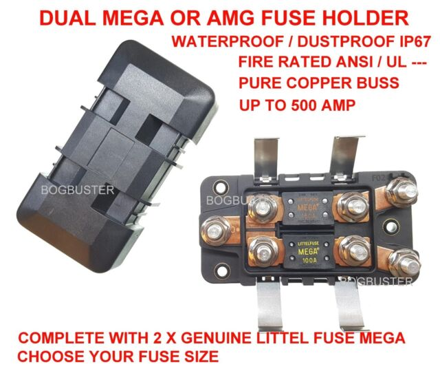 Mega Amg Fuse Holder Dual Amp Waterproof Battery Kit