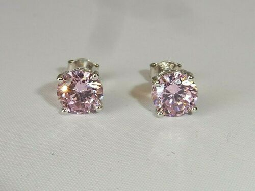 Ladies Sterling 925 Solid Silver 1.2 CT Brilliant Cut Pink Sapphire Earrings