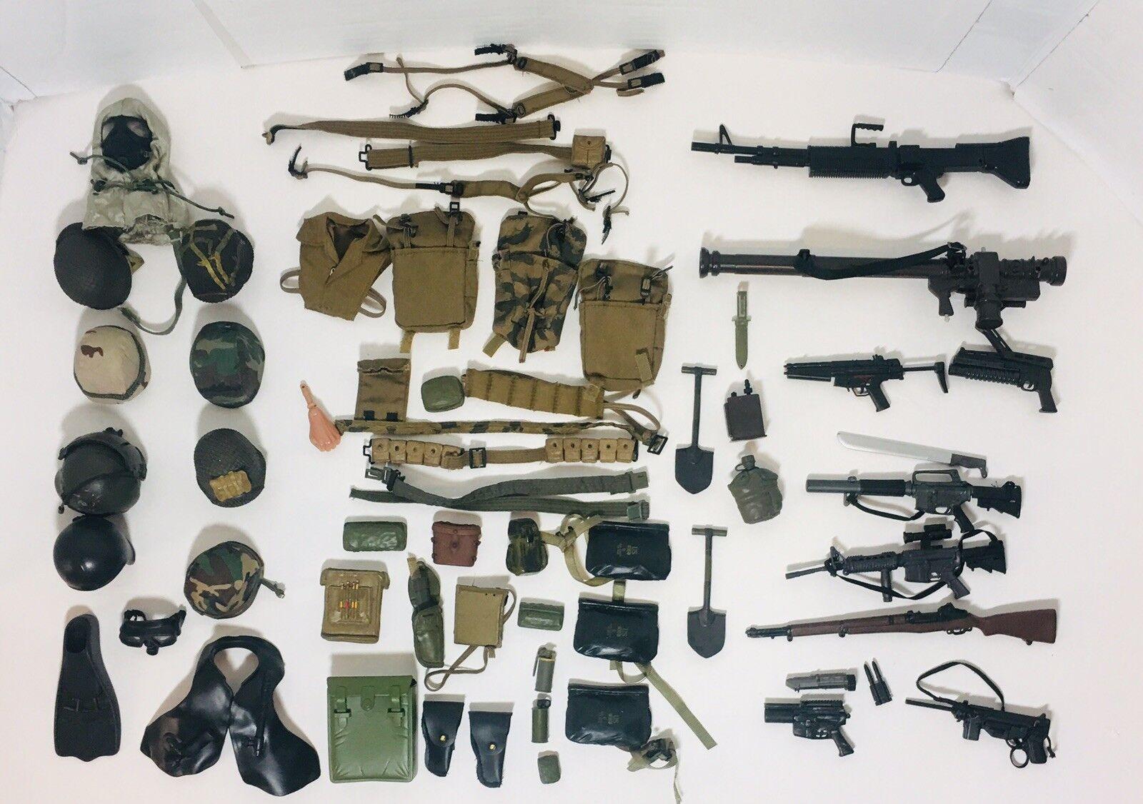 Gran lote de armas militares 21ST Century Gi Joe Cascos Accesorios Y Más