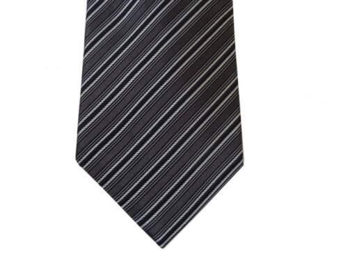 1-button /& pocket pure silk Battisti Tie SALE Dark gray//black//silver stripe