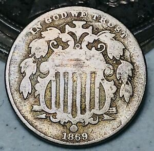 1869 Shield Nickel 5 Cents 5C HUGE DIE CRACK Ungraded Civil War US Coin CC5496