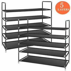 High Quality Shoe Rack Organizer 5 Tier Layer Shelf Holder Adjustable Closet