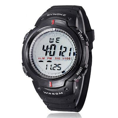 HOT Waterproof Outdoor Sports Men Digital LED Quartz Alarm Wrist Watch BK