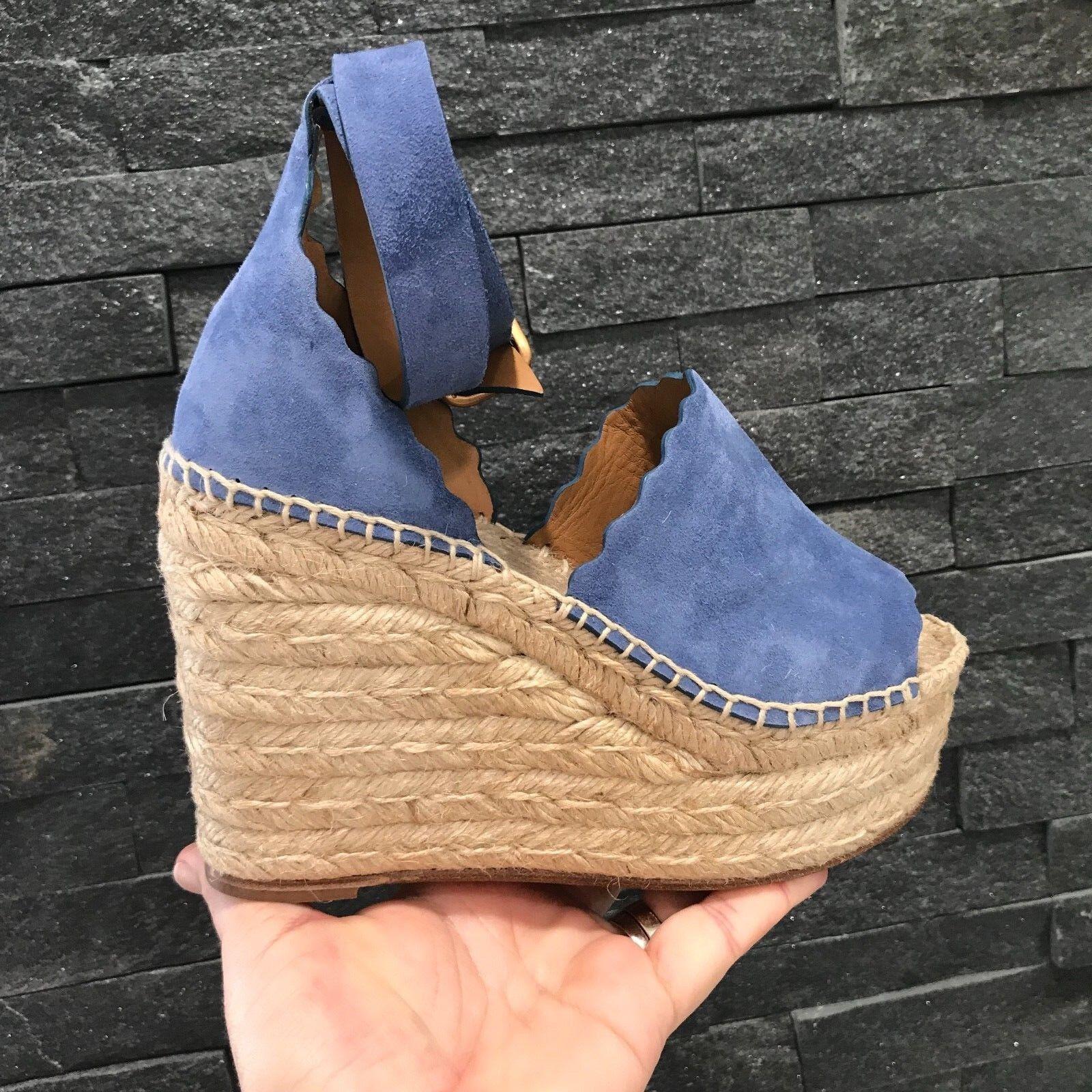 NIB Chloe Cobalt Suede Lauren Espadrille Platform Wedge Sandals Sz 42  660