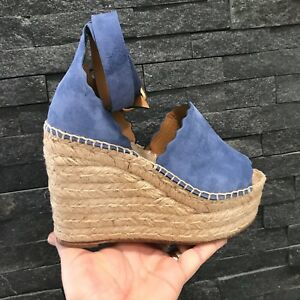 15fcc0e24be Image is loading NIB-Chloe-Cobalt-Suede-Lauren-Espadrille-Platform-Wedge-