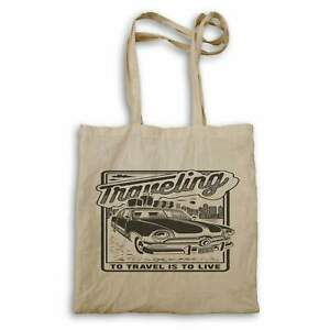 Travelling To Travel Is To Live Retro Old Time Vintage Car Tote bag hh920r