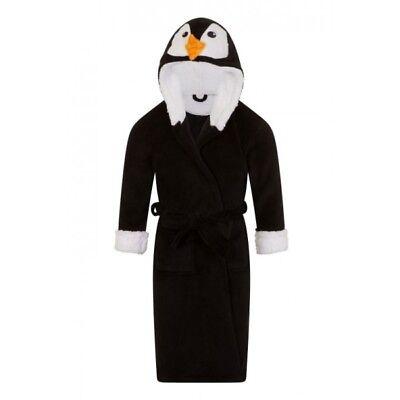 Childrens loungewear fleece Penguin Hooded Bath Robe//Dressing Gown  4-10 Years