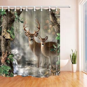 Deer in the Birch Tree Forest Bathroom Shower CurtainHooks Set of 12