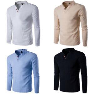 Cotton-Tops-Fashion-Shirt-Men-039-s-Casual-Sleeve-Tee-Shirts-Long-T-Men-Slim