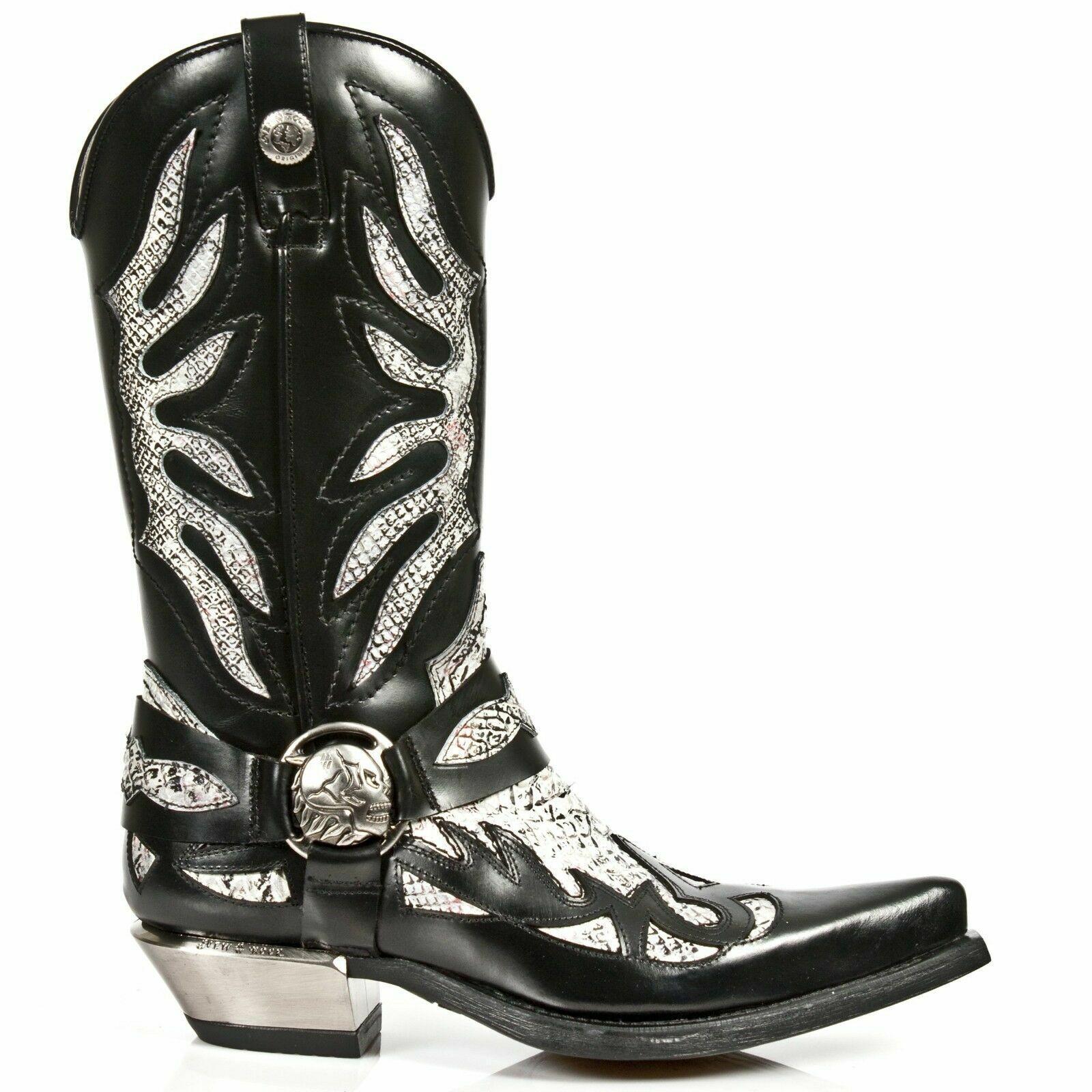 Newrock New Rock Homme 7991-S3 Cowboy Western Noir Blanc piton en Cuir Fermeture Éclair Bottes