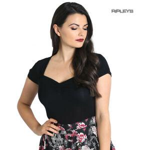 Hell-Bunny-Shirt-50s-Rockabilly-Top-MIA-Plain-Black-Short-Sleeves-All-Sizes