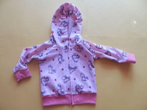 Baby Kapuzenjacke  aus Sweatshirtstoff  rosa mit Einhörner