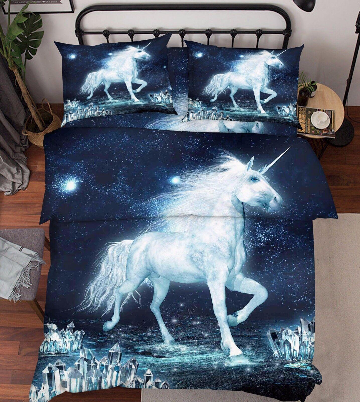 3D Unicorn Weiß 86 Bed Pillowcases Quilt Duvet Cover Set Single Queen UK Kyra
