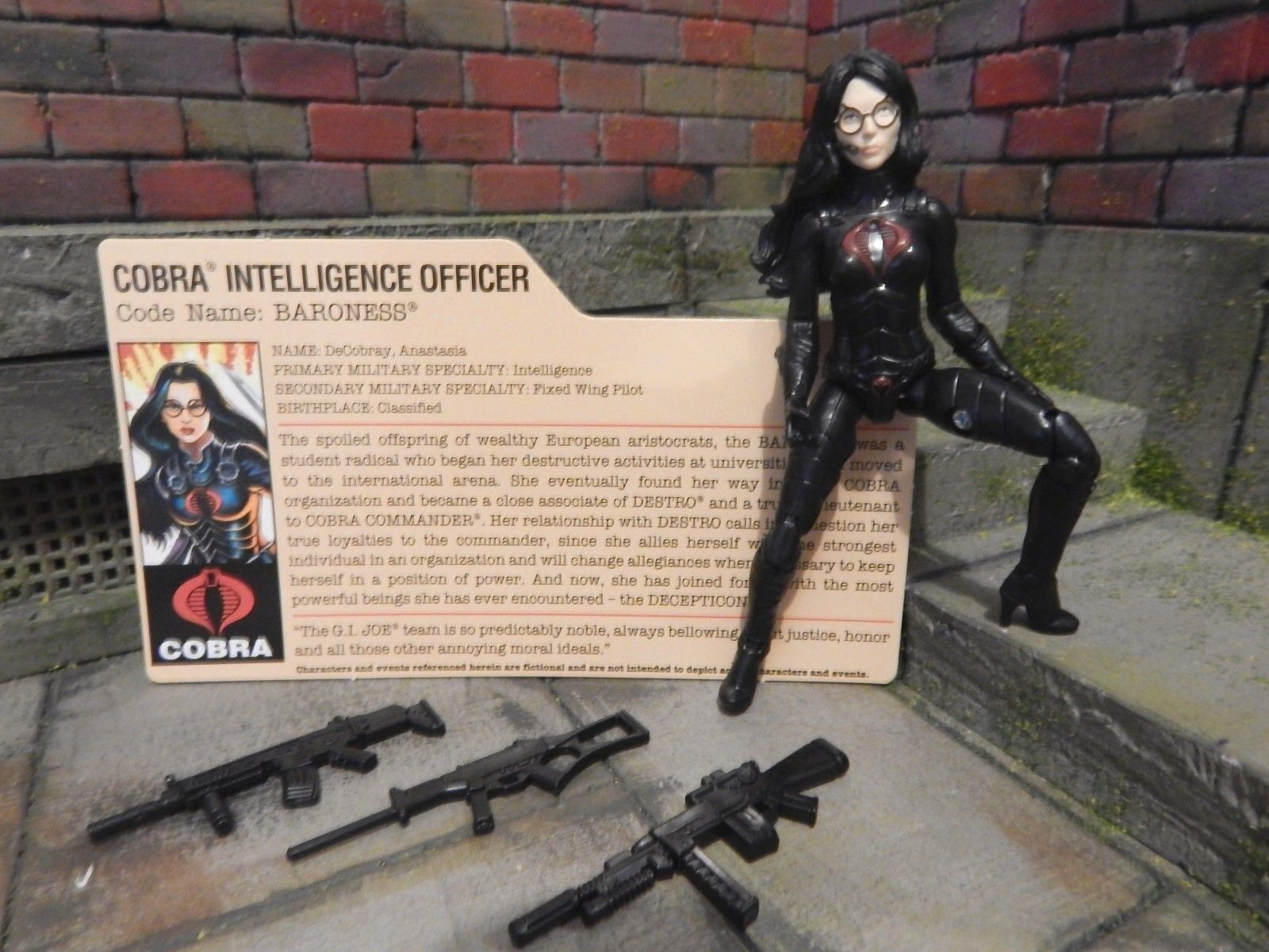 GI JOE ~ 2013 BARONESS ~ SDCC TRANSFORMERS AUTOBOT COBRA ~ with FILE CARD 1984