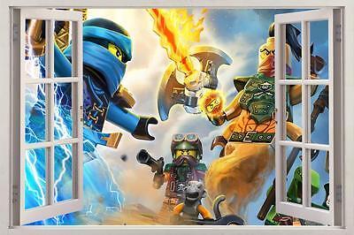 Lego Ninjago 3D Window View Decal Graphic WALL STICKER Art Mural H433