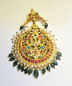 Vintage antique solid 20K Gold jewelry Diamond polki Ruby Forhead