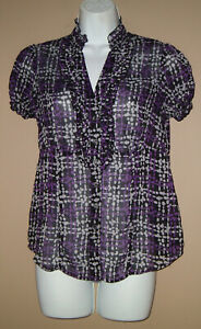 Womens-Size-Small-Short-Sleeve-Patterened-Ruffled-Button-Down-Blouse-Top-Shirt