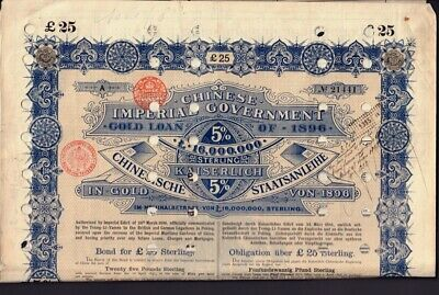 hole punched GBP 25 gold loan coup 中国 China 1896 Chinese Imperial Govern