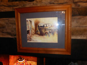 PRINT-of-Vintage-Car-FRAMED-ART-Derelict-Garage-Barn-Find-Signed-COLIN-RYAN