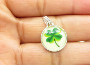 925-Sterling-Silver-Vintage-Petite-4-Leaf-Clover-Glass-Art-Drop-Pendant-P9696
