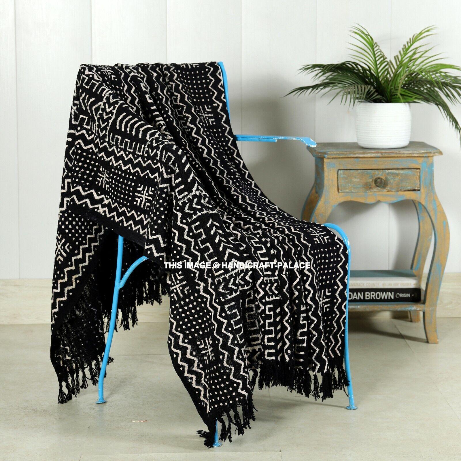 Luxus Groß 100% Baumwolle Sofa/Bett Überwurf Hand Block Printed Schlamm Schwarz