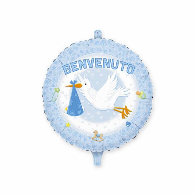 PALLONCINO MYLAR ELIO SCRITTA BENVENUTO CELESTE CM 45 NASCITA FESTE E PARTY
