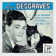 """Dan DESGRAVES Vinyle 45T 7"""" EP A LA MAISON Disques LE BLE 001 Chat Dédicace RARE"""