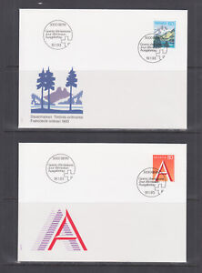 Switzerland-Mi-1489-1510-1993-issues-8-complete-sets-on-8-official-FDCs