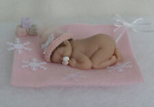 2.5 IN MINIATURE POLYMER CLAY  OOAK WINTER GIRL BABY DOLL ~ WITH HANDMADE EXTRAS