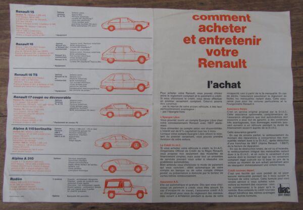 Ancienne Brochure Renault 1973 R5 R12 R6 R4 R15 R16 R17 Alpine