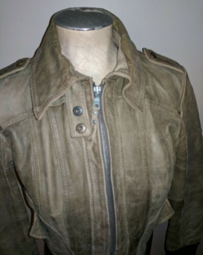 M Olive Biker Bomber Stradivarius Army Green Veste Moto Manteau Dames 8S1UUw