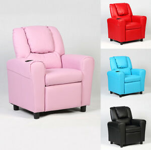 Kids Children Recliner Sofa Armchair Seat Couch Chair With Cup