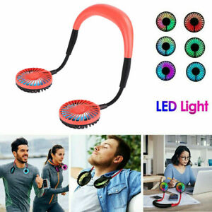 Portable-Rechargeable-Neckband-Neck-Hanging-Dual-Cooling-Mini-Fan-Personal-LED