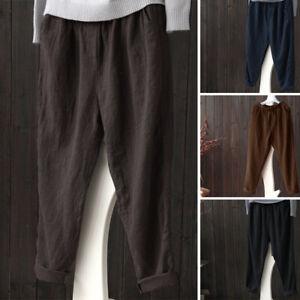 ZANZEA-Femme-Pantalon-Couleur-Unie-100-coton-Casual-en-vrac-Taille-elastique