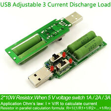 USB Load Resistance Adjustable Power Resistors With switch 3 current 5V1A/2A/3A