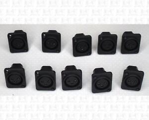 Black-Panel-Mount-PCB-Mount-3-Pin-Female-XLR-Microphone-Jacks-Lot-Of-10