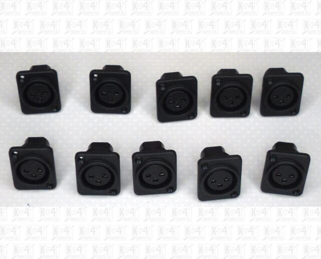 Black Panel Mount PCB Mount 3 Pin Female XLR Microphone Jacks Lot Of 10