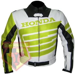 HONDA-9019-MOTORBIKE-MOTORCYCLE-FLUORESCENT-COWHIDE-LEATHER-ARMOURED-JACKET