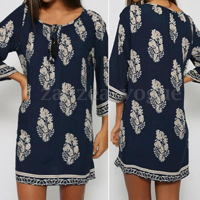 Women Lace Up Boho Floral Printed Loose Long Top Shirt Mini Dress Short Sundress