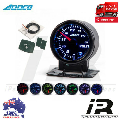 """52mm VOLTS Gauge VOLTMETER Analogue 2/"""" ADDCO Racing Smoked Face 7 Colour"""