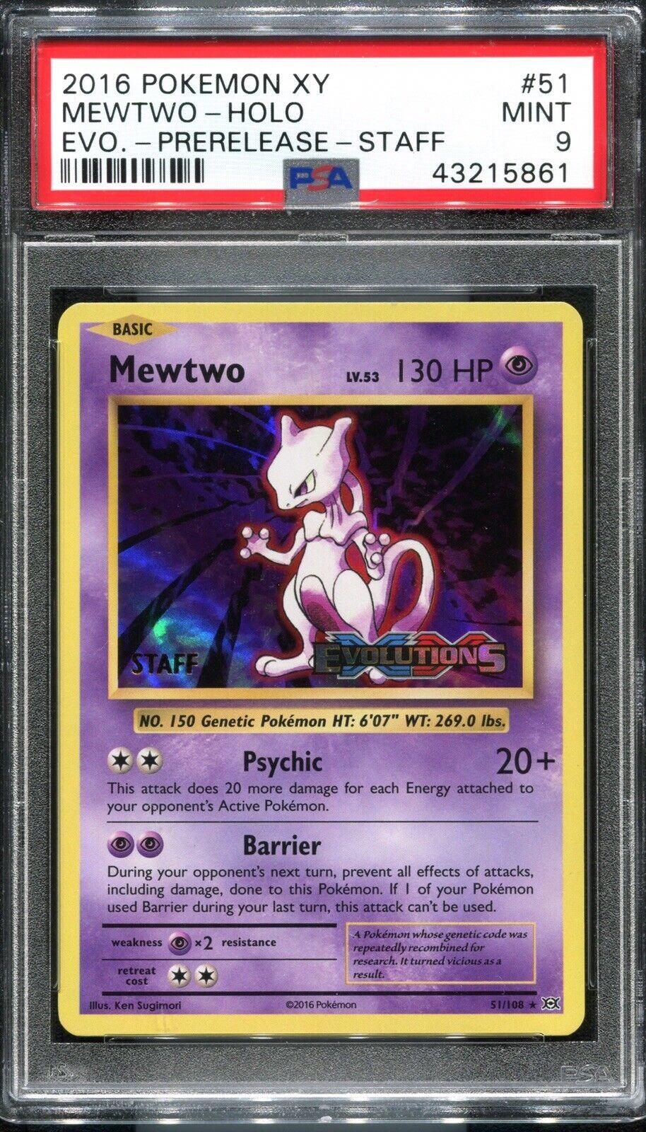 PSA 9 Mint Pokemon XY Evolutions Mewtwo Staff Prerelease Holo Rare Pokemon Card