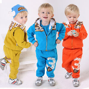 Toddler Boy 2PC Outfit Sets Sport Style Hoodie Jogger Pants Size 1-4 years